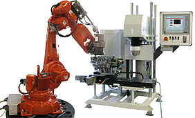 Hardness test bench by Hegewald and Peschke with robot