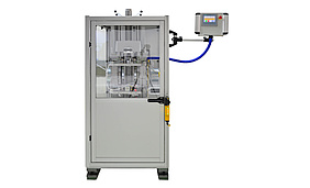 Testing machine for rotational impact tests on fiber composites